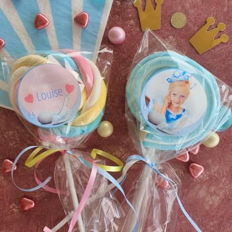 8 sucettes Marshmallowspersonnalisées décor cendrillon pour vos fêtes, anniversaire et événements. Ultra original pour vos candy...