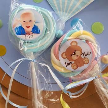 8 Sucettes marshmallow personnalisées Bleu bébé