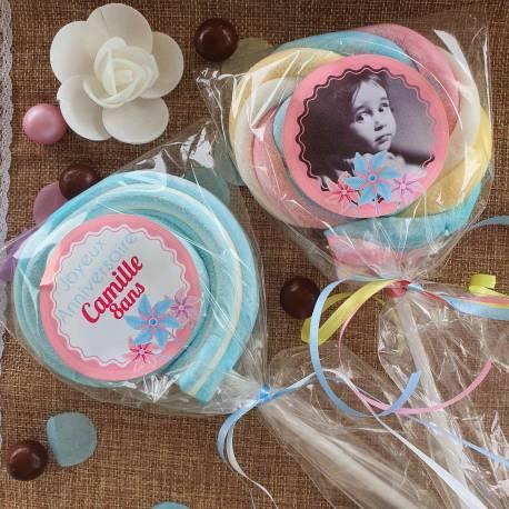 8 sucettes Marshmallowspersonnalisées décor moulin à vent rose pour vos fêtes, anniversaire et événements. Ultra original pour vos...