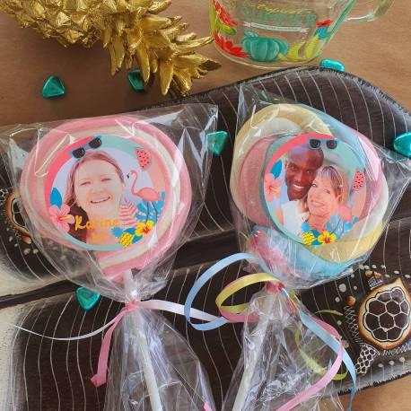 8 sucettes Marshmallowspersonnalisées décor Flamingo pour vos fêtes, anniversaire et événements. Ultra original pour vos candy...