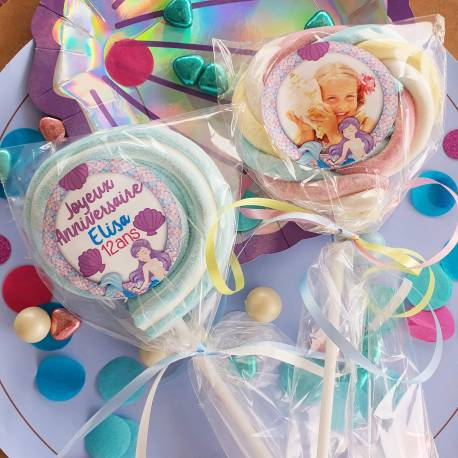 8 sucettes Marshmallowspersonnalisées décor sirènes pour vos fêtes, anniversaire et événements. Ultra original pour vos candy...