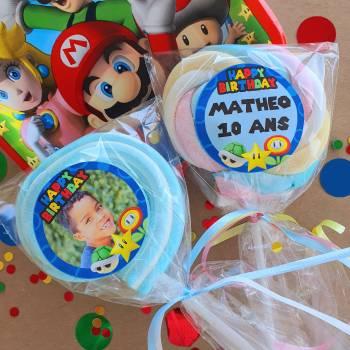8 Sucettes marshmallow personnalisées Mario