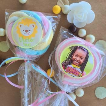 8 Sucettes marshmallow personnalisées Jaune pastel
