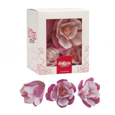 6 Magnolias rose et blanc en azyme comestible pour décorer vos gâteaux, number cake, glace....Dimensions d'une fleur: 6.5cm x 7cm