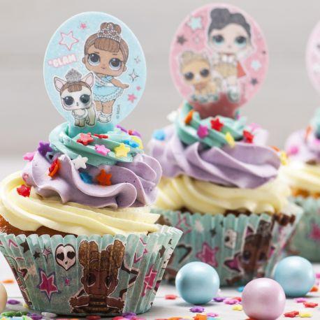 Assortiment de 20 décors en azyme à piquer sur vos pâtisseries, dessert, apéritif, sur le thème Lol SurprisePoids brut: 22gr