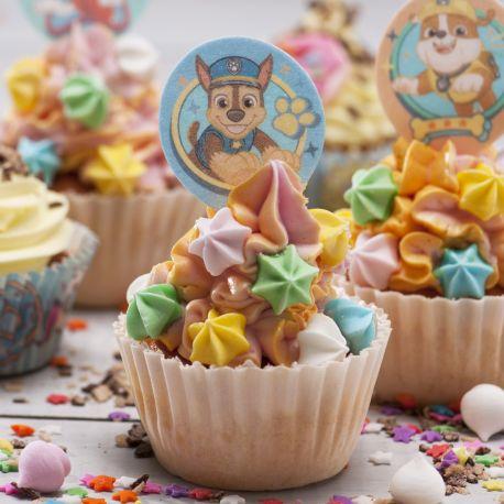 Assortiment de 20 décors en azyme à piquer sur vos pâtisseries, dessert, apéritif, sur le thème Pat PatrouillePoids brut: 22gr
