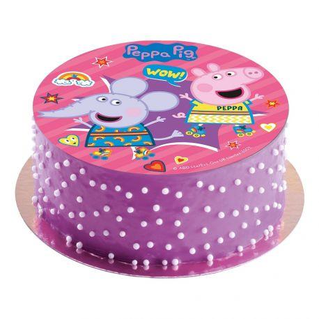 Disque comestible sans sucre spécialement conçu pour réaliser un magnifique gâteau sur le thème Peppa PigIl suffit de le poser tout...