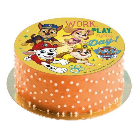 Disque comestible sans sucre spécialement conçu pour réaliser un magnifique gâteau sur le thème Pat PatrouilleIl suffit de le poser...