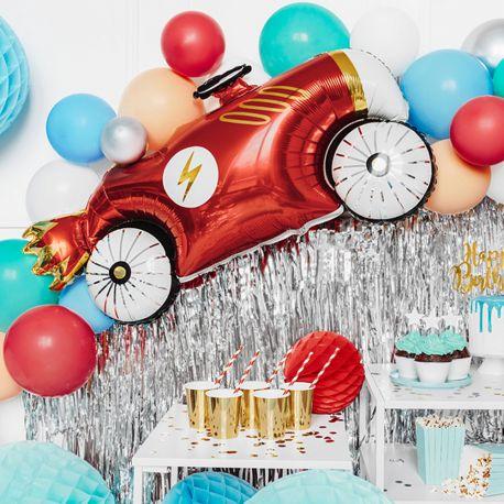 Ballon en aluminium en forme de voiture de course vintage pour faire une décoration d'anniversaire ultra tendance!Dimensions : 93cm...