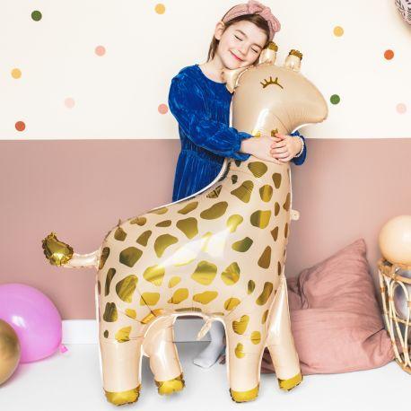 Ballon en aluminium en forme de girafe doré pour faire une décoration d'anniversaire ultra tendance!Dimensions : 102cm x 80cm