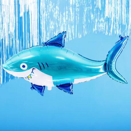 Ballon en aluminium en forme de requin bleu pour faire une décoration d'anniversaire ultra tendance!Dimensions : 92cm x 49cm