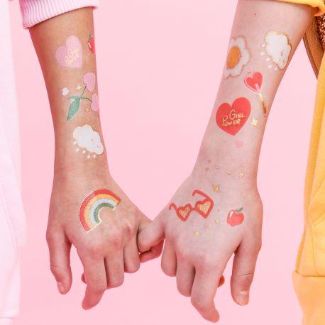 Assortiment de 12 Tattoos thème Girly Power doré et colorés !
