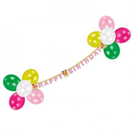 Set de décorationpour anniversaire thème chevalComprend une banderole anniversaire, 14 ballons unis, du bolduc et les attaches...