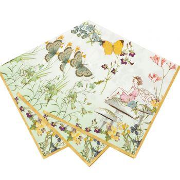 20 Serviettes papier jardin de fée