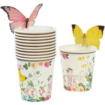 12 Gobelets jardin de fée + papillons