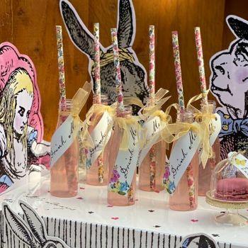 6 fioles avec pailles Drink Me Alice