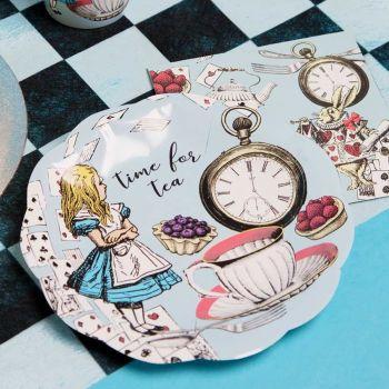 12 petites assiettes Alice aux pays des merveilles bleu