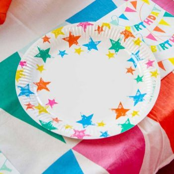 12 Assiettes Ecolo rainbow star
