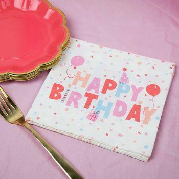 20 serviettes papier Ecolo pastel birthday