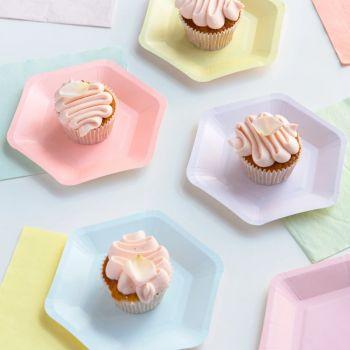 12 petites assiettes Hexagone pastel assortis