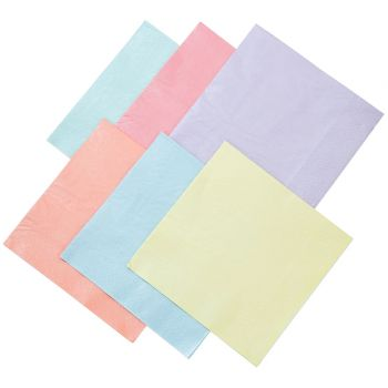 16 serviettes pastel assortis