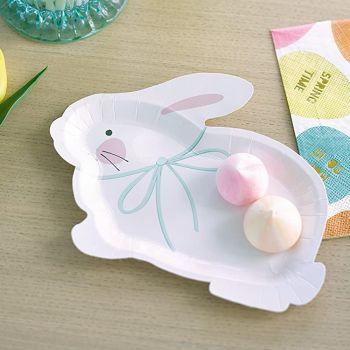 8 assiettes lapin blanc
