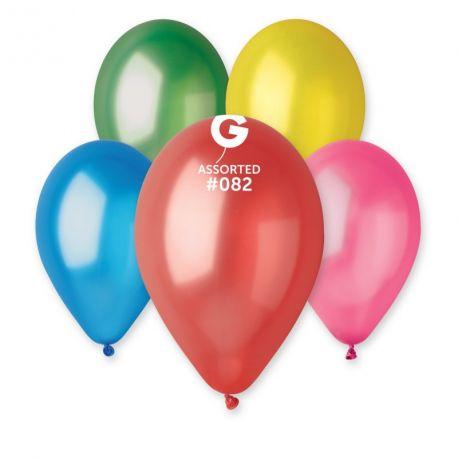 100 Ballons taille standard en latex de couleur métallisés assortis idéal pour vos décoration de fête et d'anniversaire et d'arches à...