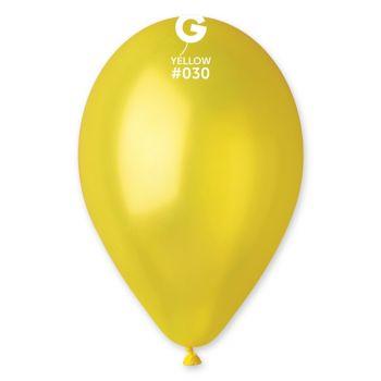 10 Ballons métallisés jaune Ø30cm