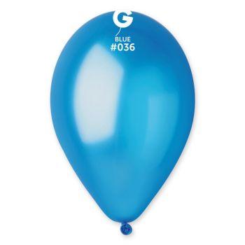 10 Ballons métallisés bleu Ø30cm