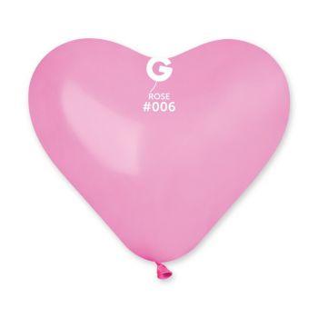 5 Ballons coeur rose 25cm