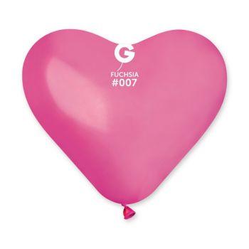 5 Ballons coeur fuchsia 25cm