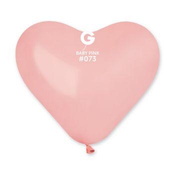 50 Ballons coeur rose bébé 25cm