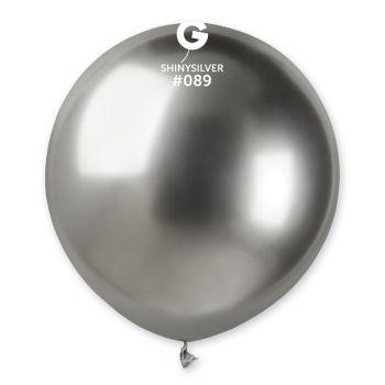 3 Ballons Shiny métallisés argent brillant Ø48cm