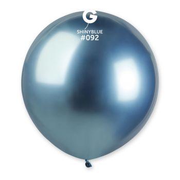 3 Ballons shiny métallisés bleu Ø48cm