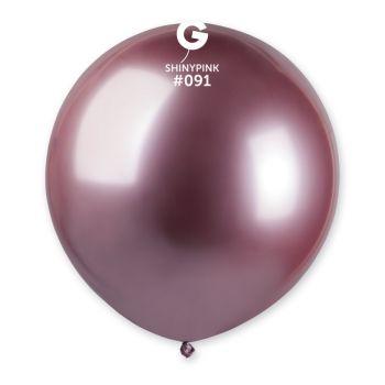 3 Ballons shiny métallisés rose Ø48cm