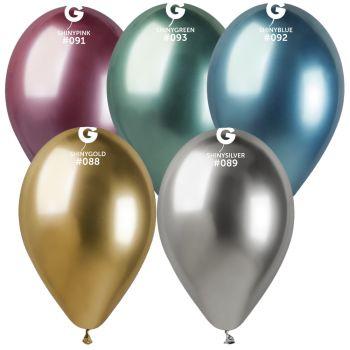 5 Ballons shiny métallisés assortis Ø33cm