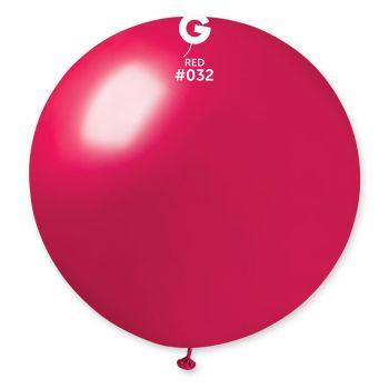 1 Ballon géant rouge berry métallisé Ø80cm
