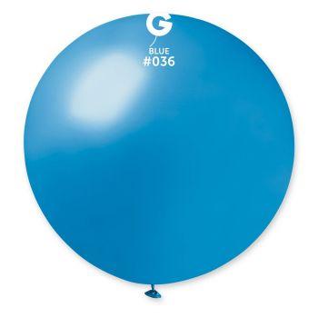 1 Ballon géant bleu métallisé Ø80cm