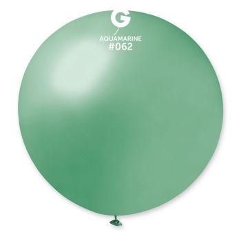 1 Ballon géant vert d'eau métallisé Ø80cm