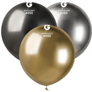 3 Ballons shiny métallisés anthracite, or ,argent Ø48cm