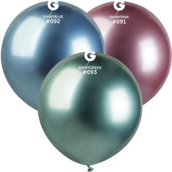 3 Ballons shiny métallisés bleu, rose, vert Ø48cm