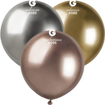 3 Ballons shiny métallisés or, argent, gold rose Ø48cm