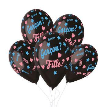 5 Ballons confettis gender reveal Ø33cm
