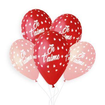 5 Ballons Je t'aime Ø33cm