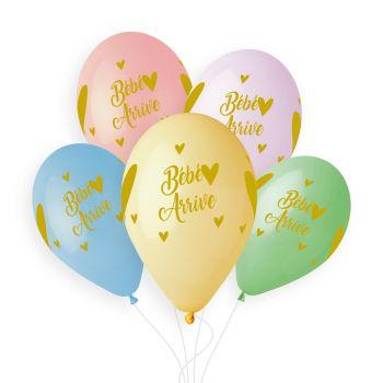 5 Ballons pastel Bébé arrive gold Ø33cm