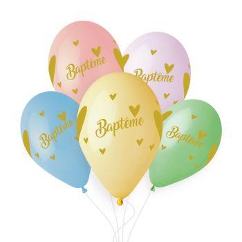 5 Ballons pastel Baptême gold Ø33cm
