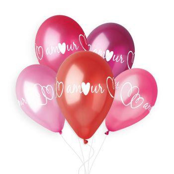 5 Ballons coeur Amour Ø33cm