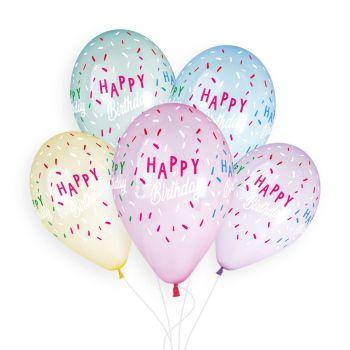 5 Ballons pastel Happy Birthday Ø33cm