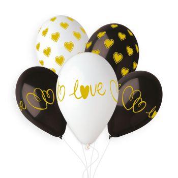 5 Ballons coeur love black gold Ø33cm