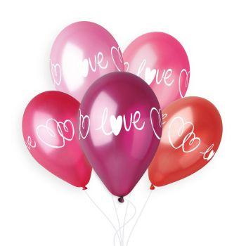 5 Ballons coeur Love Ø33cm